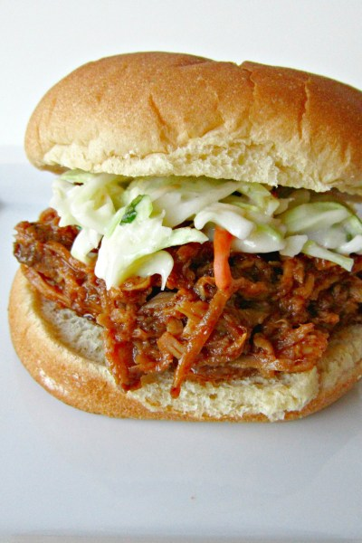 Slow-Cooker Cherry Chipotle Pulled Pork Sliders with Cilantro Lime Slaw