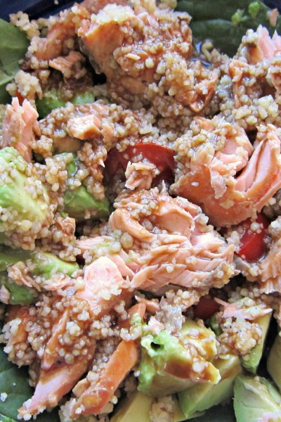 Salmon and Couscous Spinach Salad