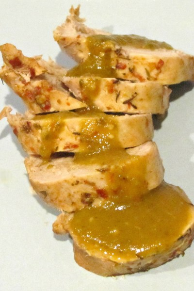 Chili Pork Tenderloin with Poblano-Tomatillo-Lime Sauce