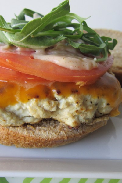 Turkey Burger with Cheddar and Smoky Aioli