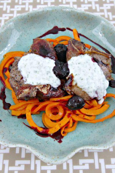 Cherry Balsamic Lamb Chops with Mint Yogurt Sauce