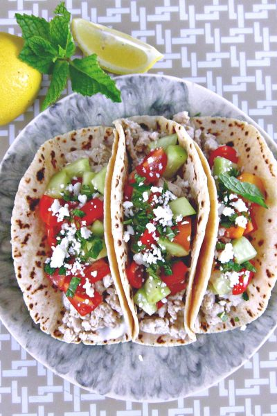 Taco Tuesday: Greek Turkey Tacos with Cucumber-Tomato Relish and Mint Yogurt Sauce