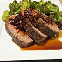 Venison Back Strap with Red Wine Sauce