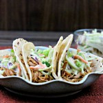 Slow Cooker BBQ Pulled Pork Tacos with Honey Mustard Slaw