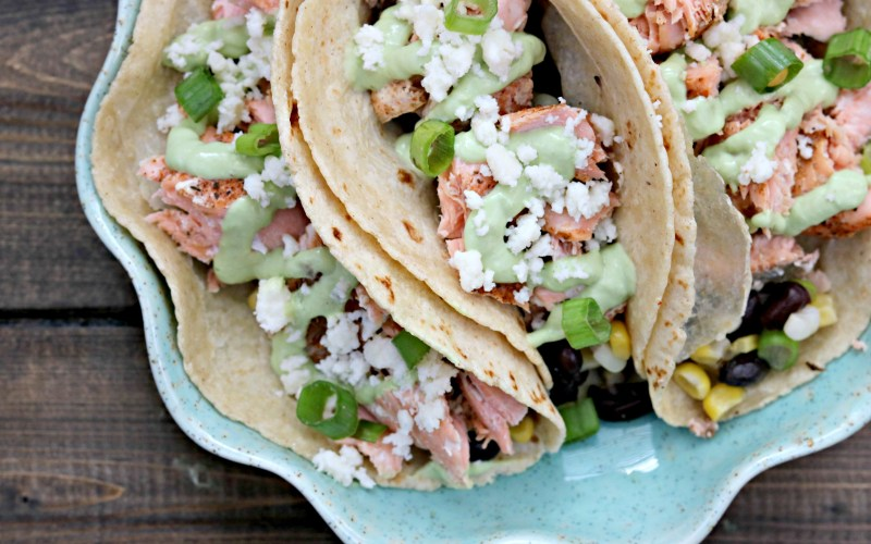 Taco Tuesday: Blackened Salmon Tacos with Avocado Jalapeno Lime Sauce