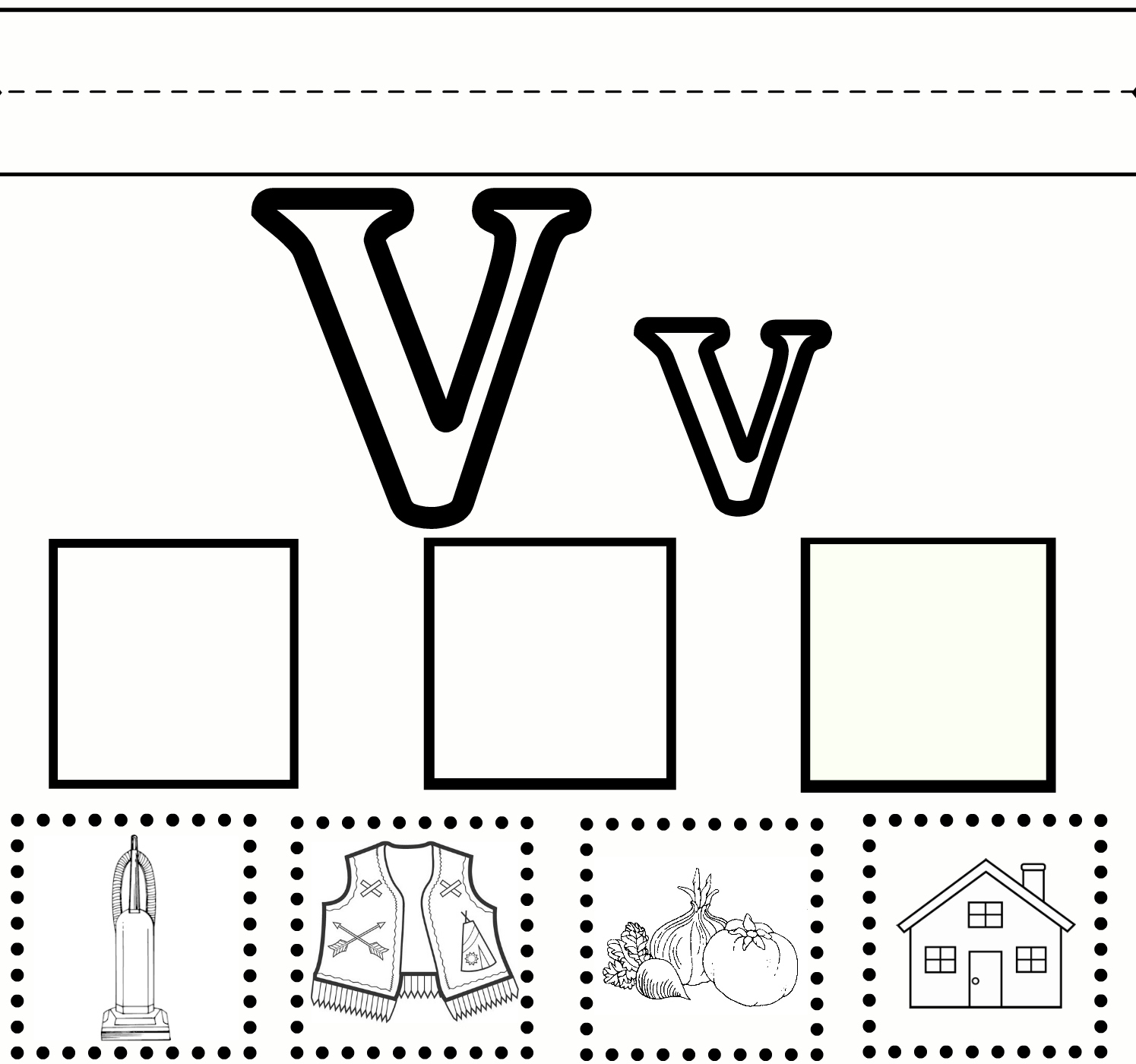 Preschool Learning Letter V Worksheet Free Printable