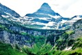Glacier Mountain with Two Waterfalls
