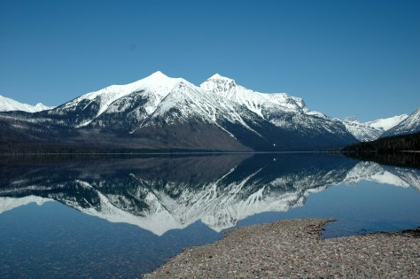 Snow Capped Mountains Reflections, Lake McDonald