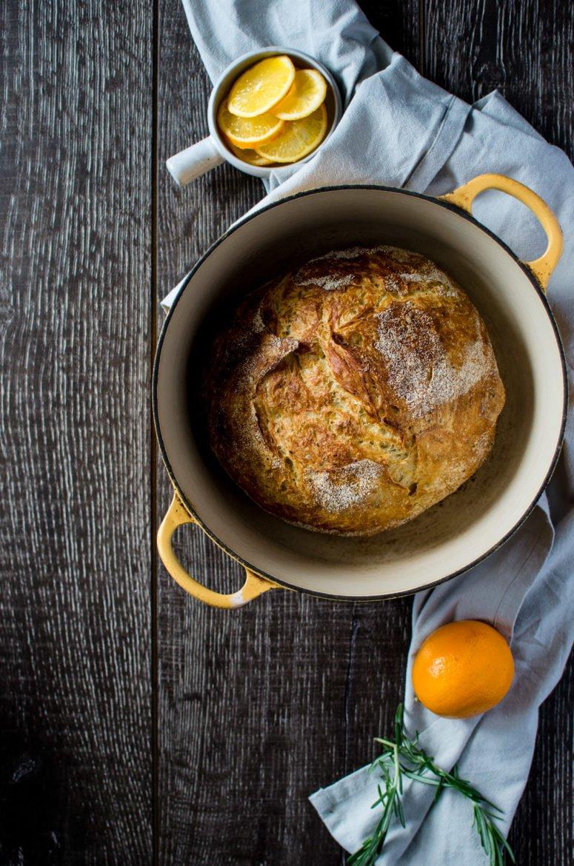 Meyer Lemon Rosemary Bread - Baked in a Dutch Oven!