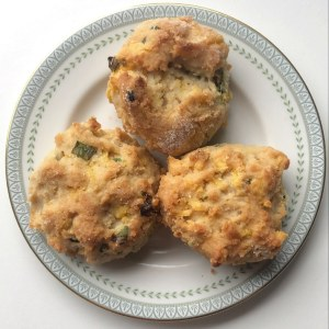 Top-view of three scones on a plate