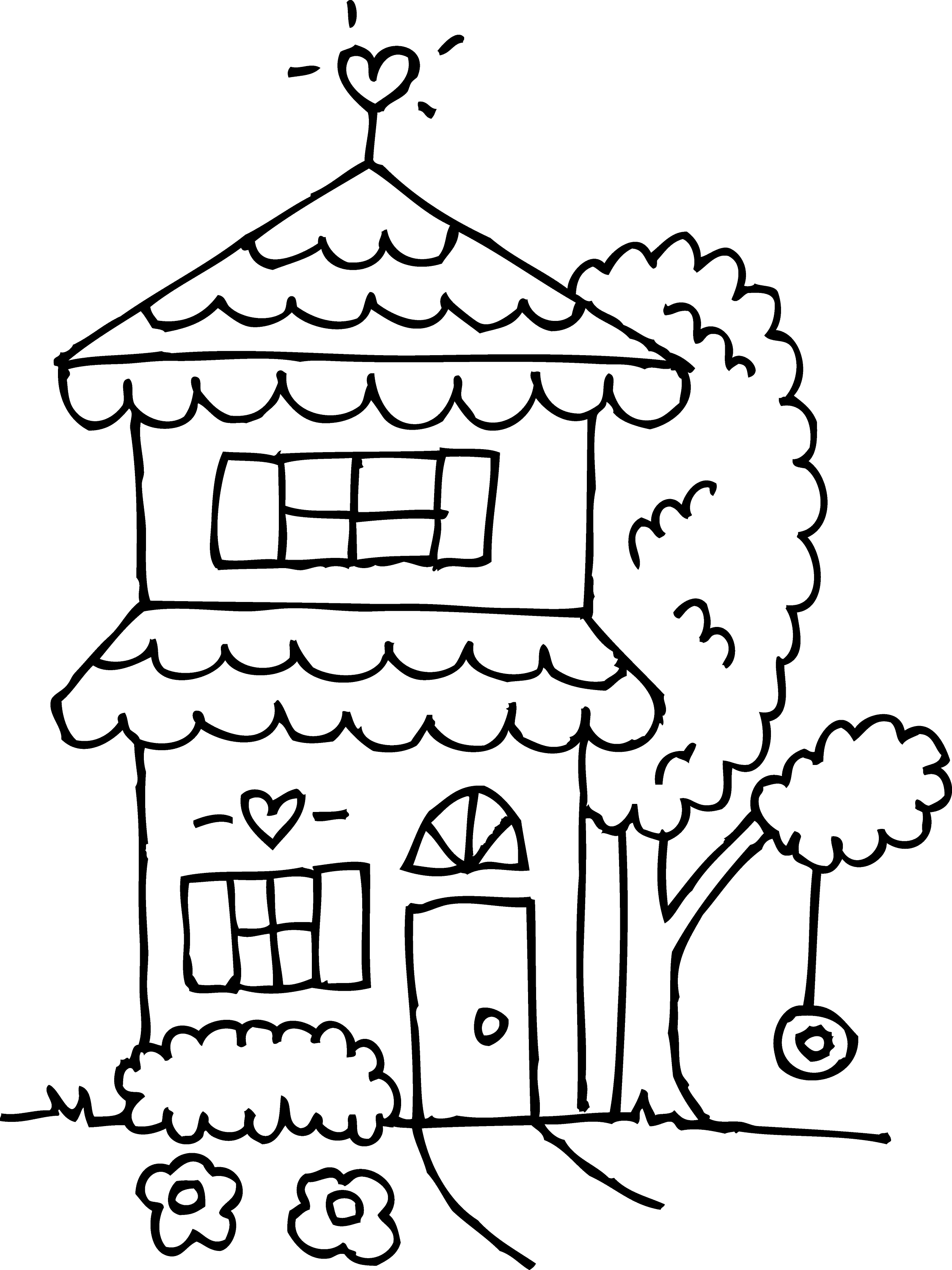 Two Story House Coloring Page
