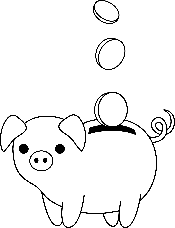 Piggy Bank Colorable Line Art
