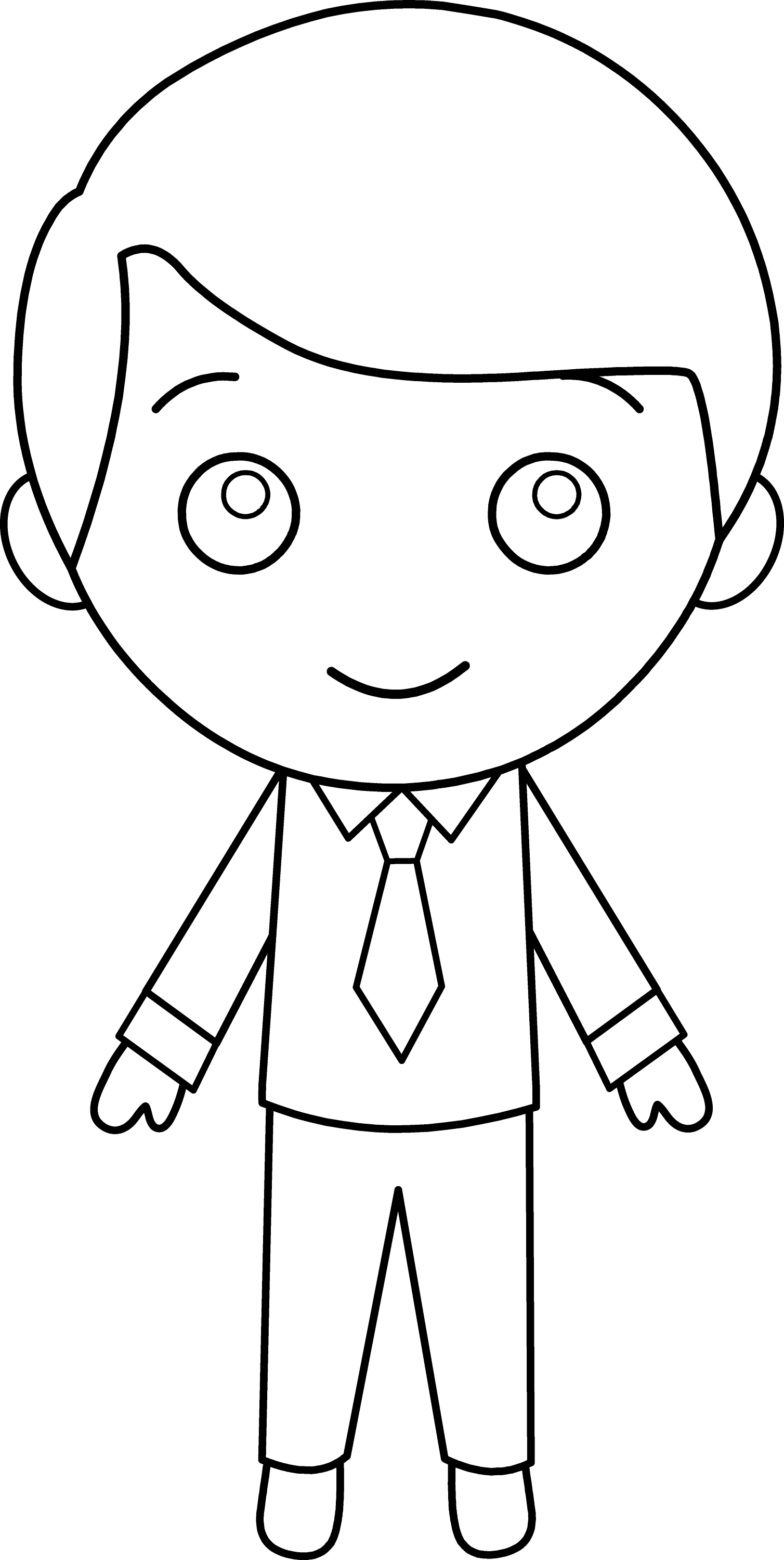 Little Guy In Suit Line Art