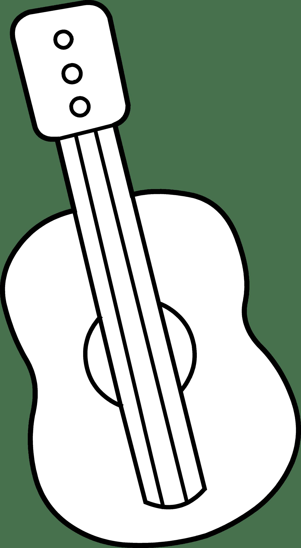Cute Mini Guitar Coloring Page