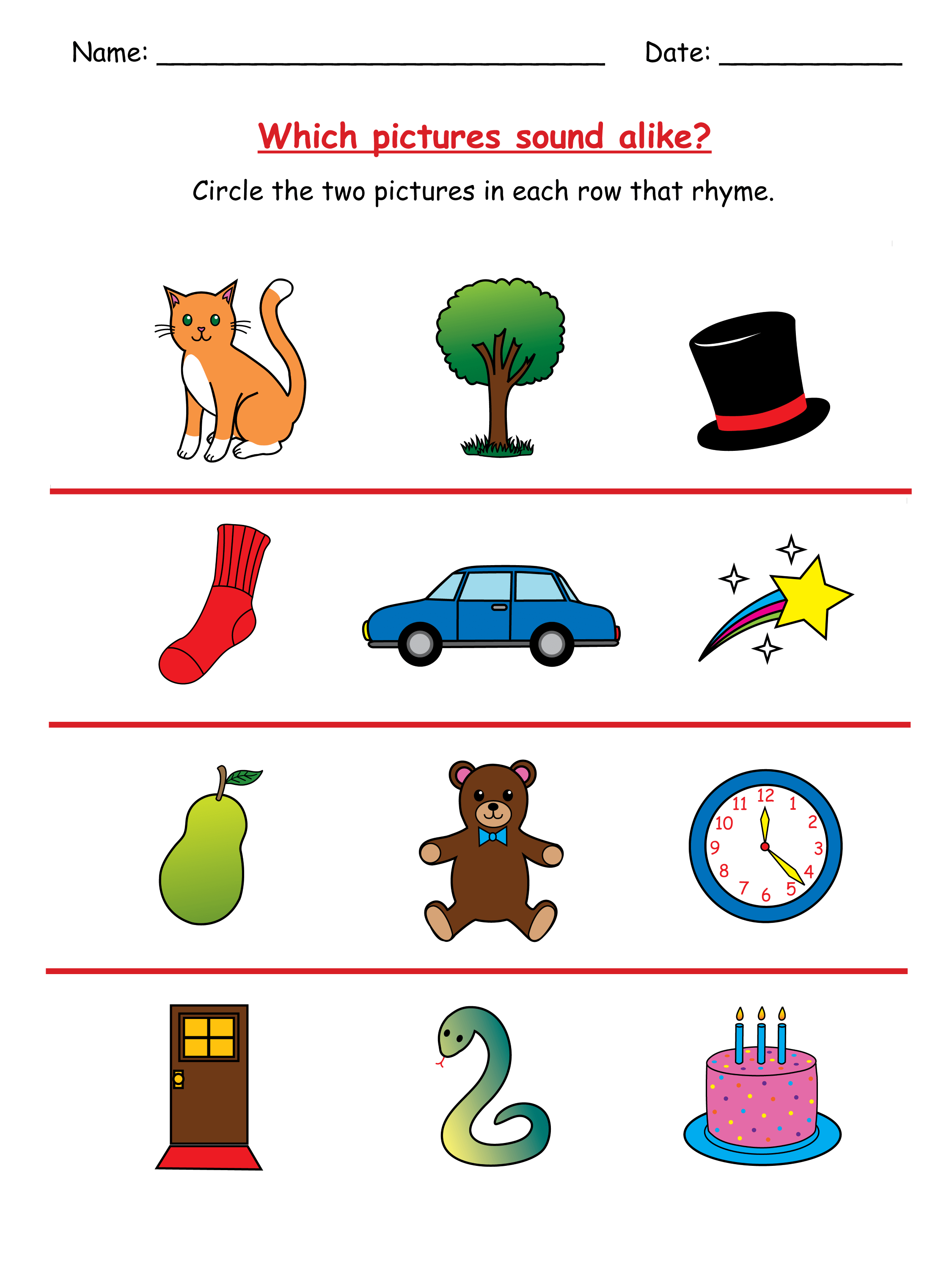 Primary School Rhyming Worksheet