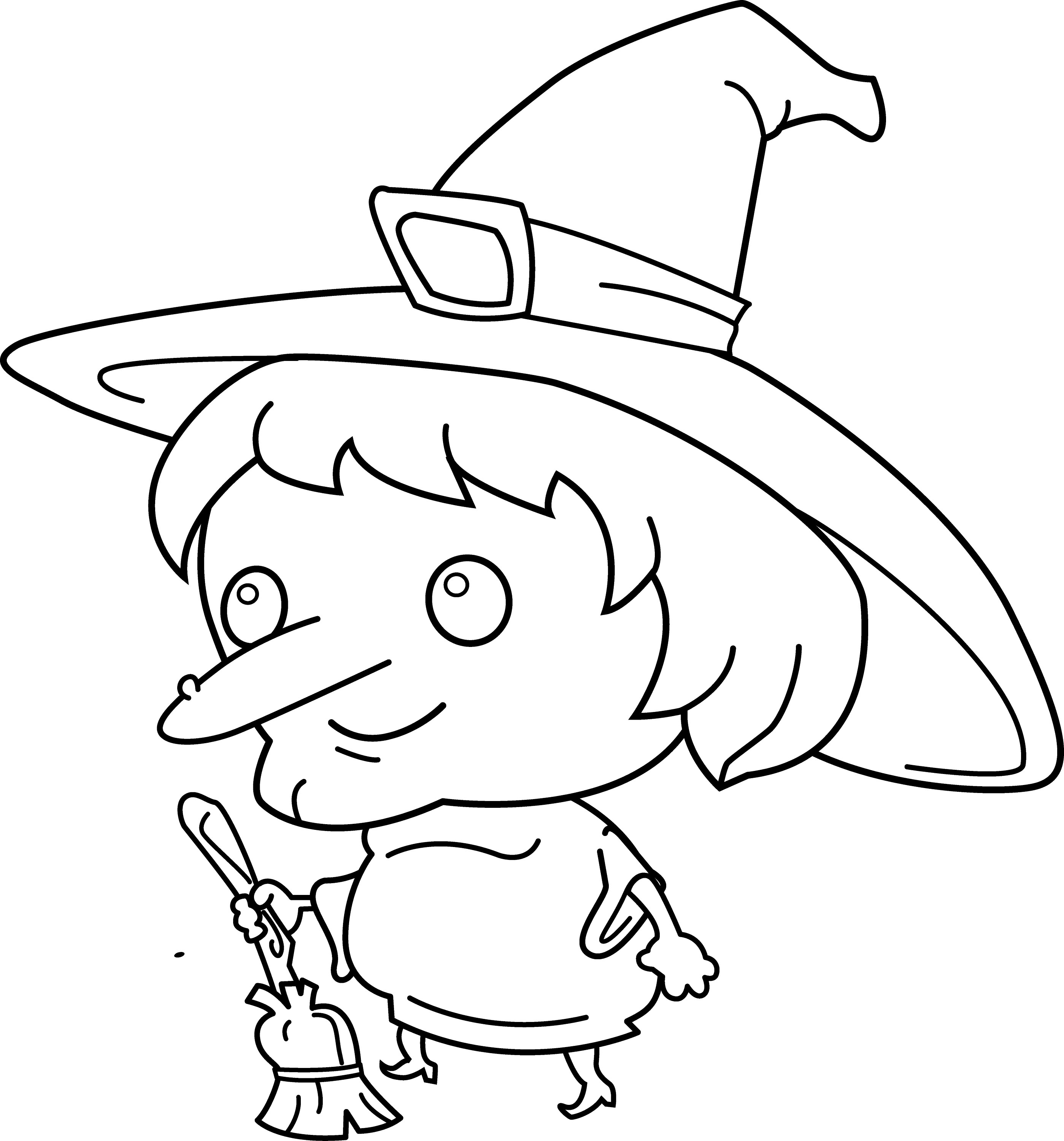 Cute Witch Coloring Page