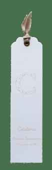 Recordatorio en forma de punto de libro 4x16,5cm. 3,30€.