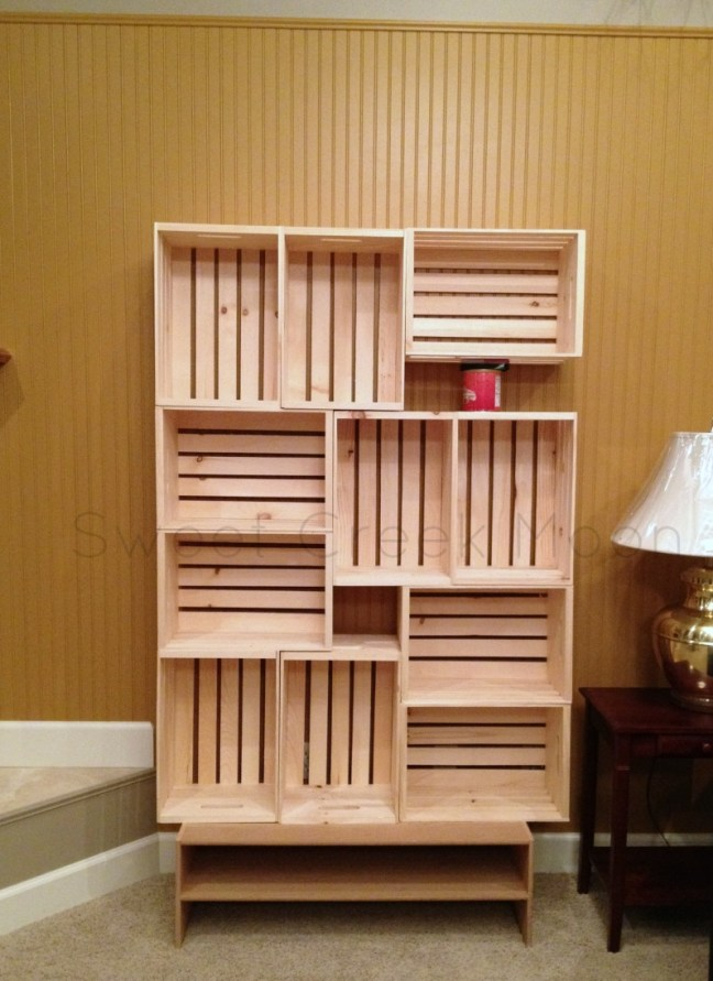 Crate shelf stacked and glued