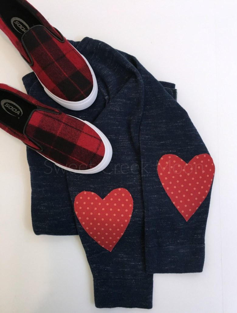 heart elbow patch top ironed on