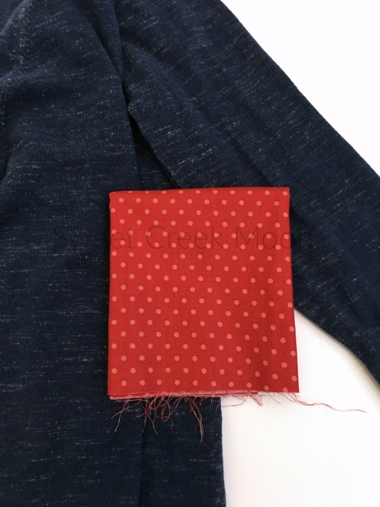 heart elbow patch top polka dot fabric