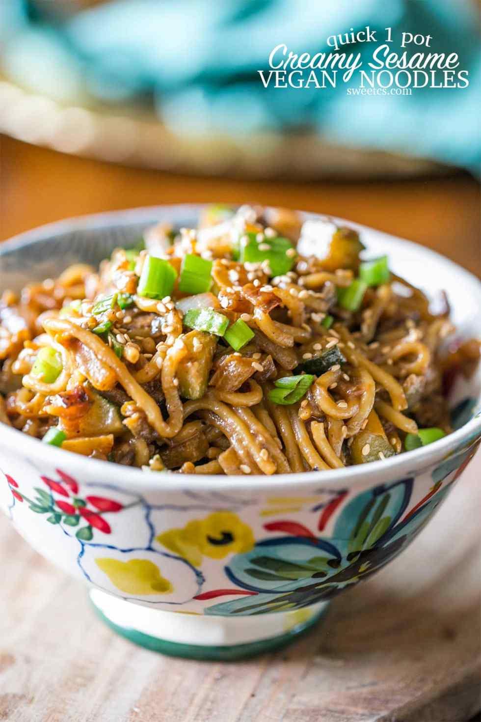 One Pot Creamy Tahini Noodles {Sweet C's}