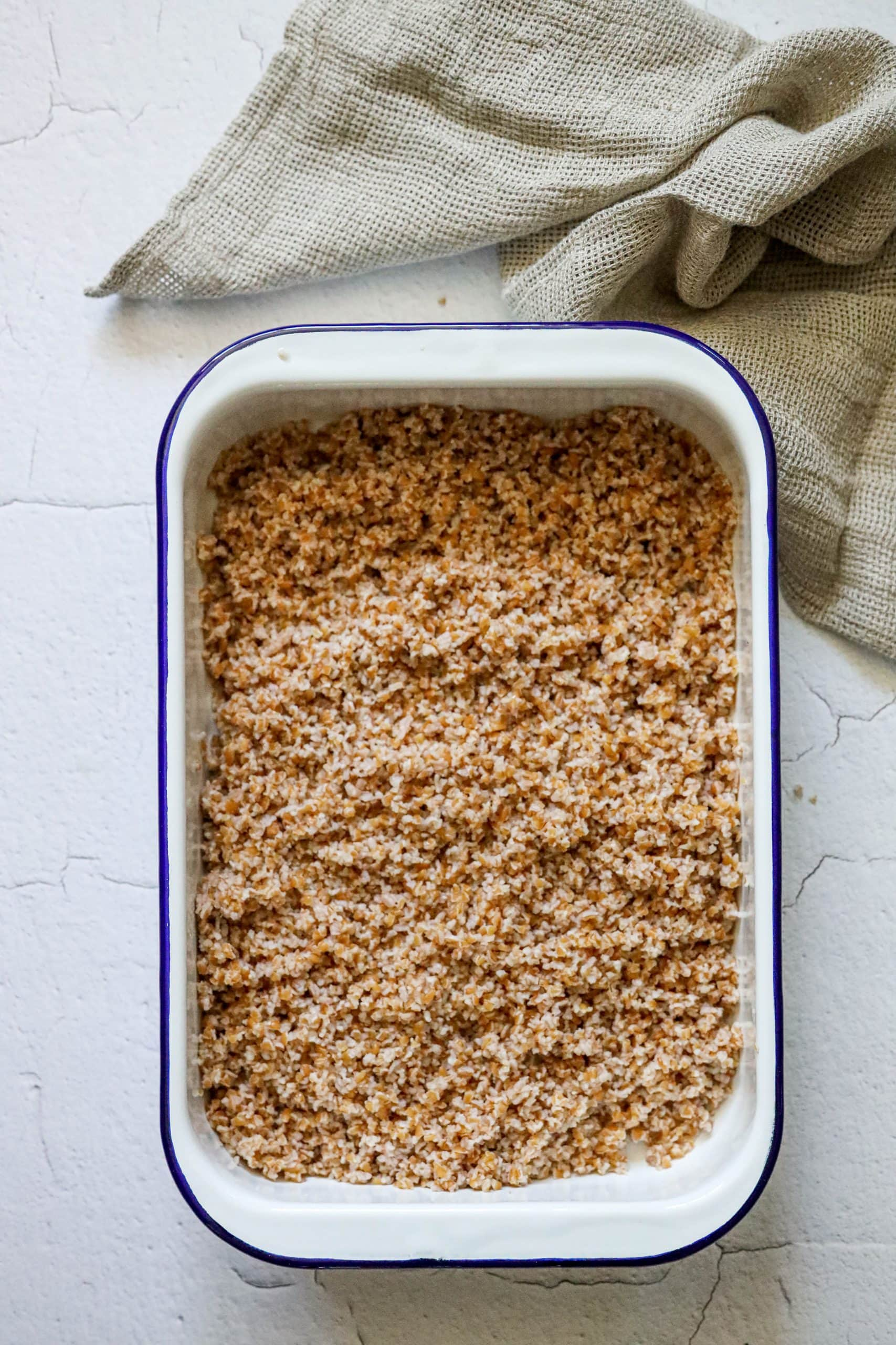 picture of drained bulgur in a dish