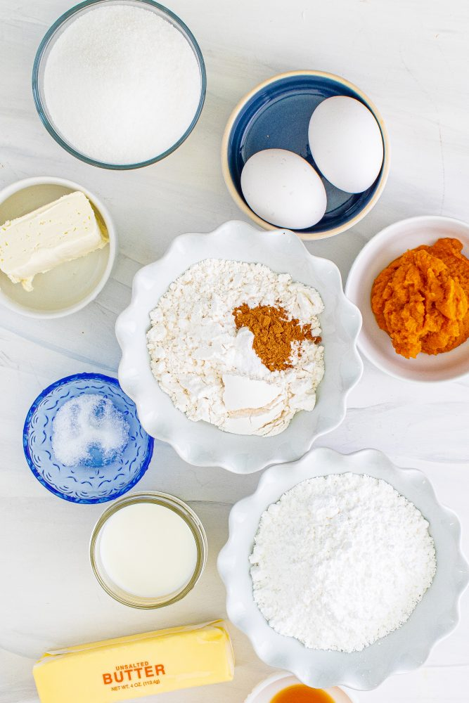 picture of pumpkin bundt cake ingredients on a table