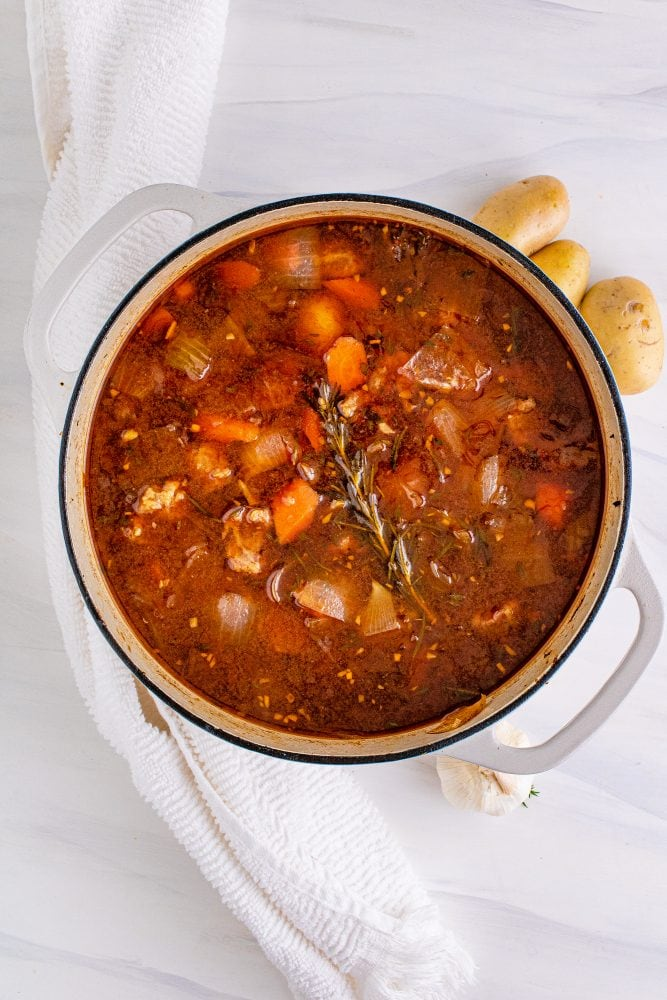 picture of venison stew in a pot