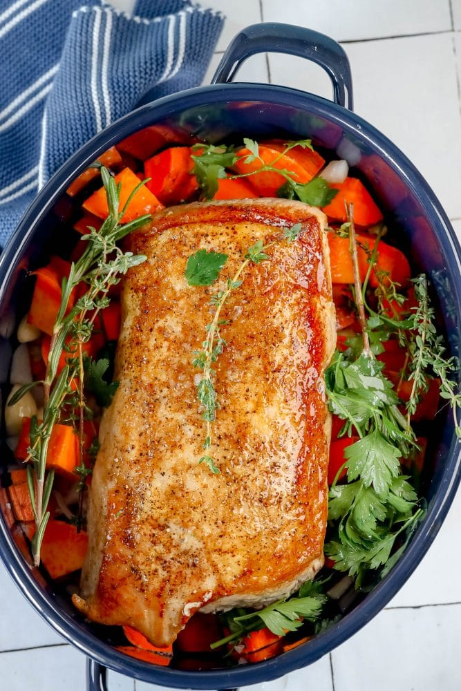 picture of pork loin in roasting pan