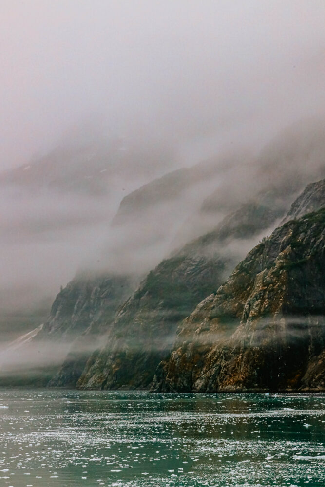 picture of mist and mountains in glacier bay national park alaska