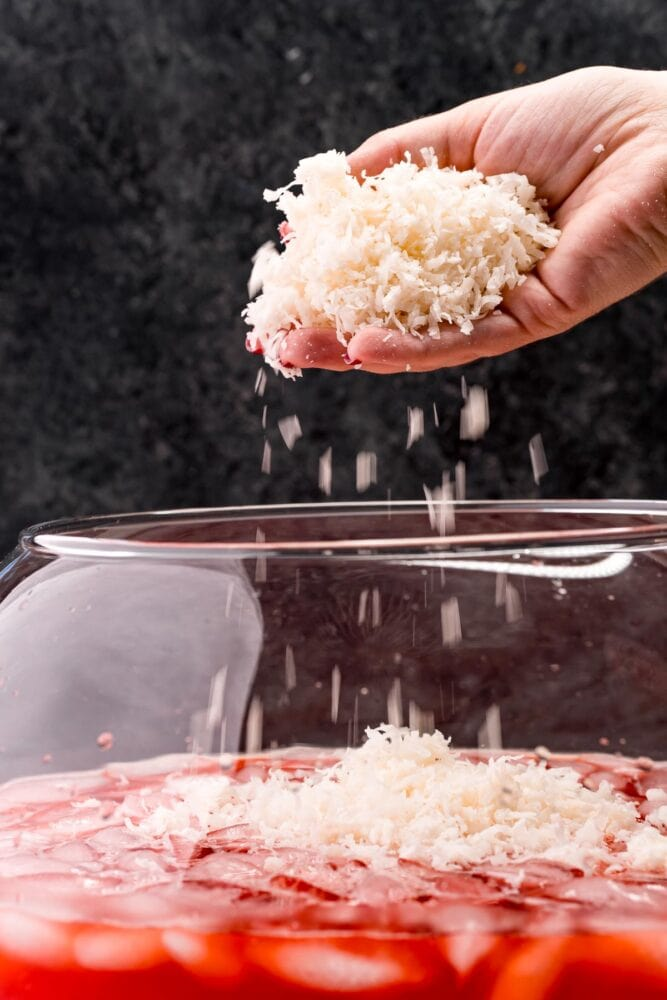 picture of shredded coconut being added into punch bowl
