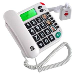 Téléphone fixe avec télécommande SOS