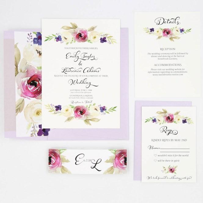 Purple Fl Lila Wedding Invitation Suite