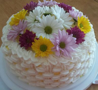 Lemon Filled Vanilla Cake with Buttercream Frosting
