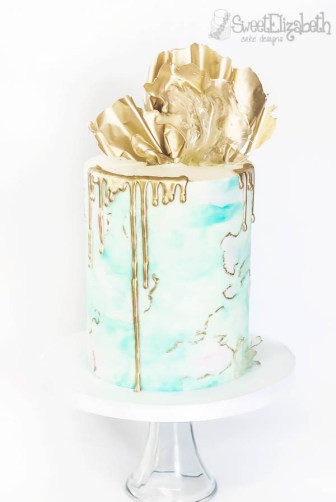 Birthday Cake with Metallic Gold Highlighter Drip and Chocolate Sail