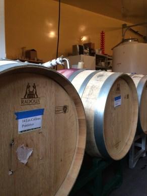 racking barrels of wine