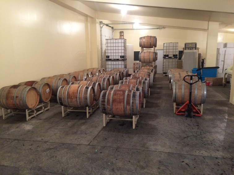 Used wine barrels after hydrating, bungs down.