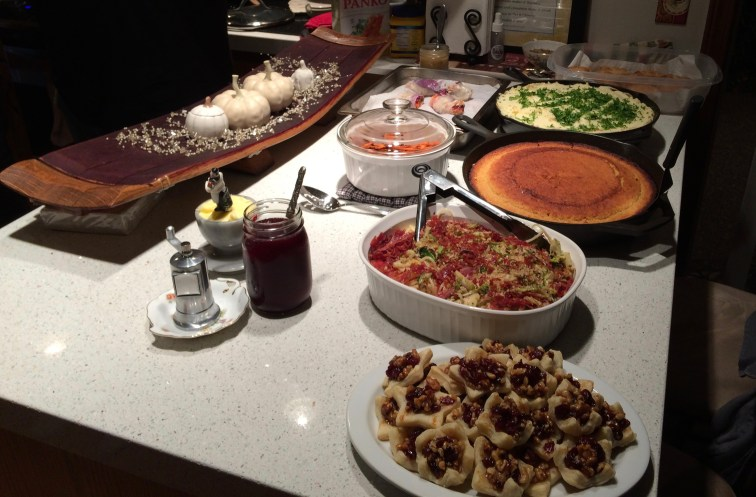 Alternative dishes with traditional Thanksgiving fare.