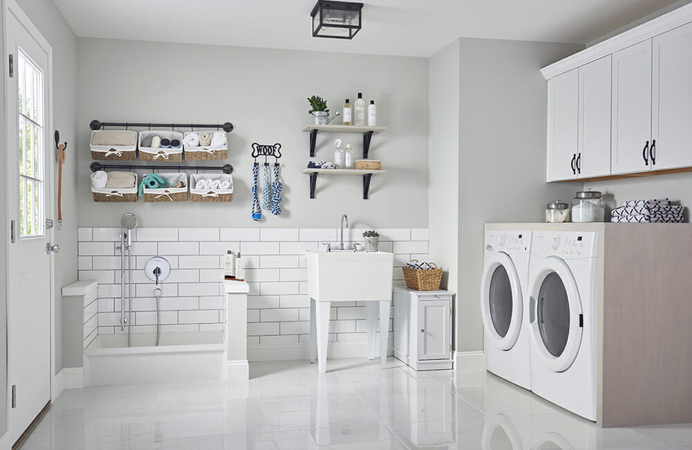 the utility sink or laundry sink gets you organized