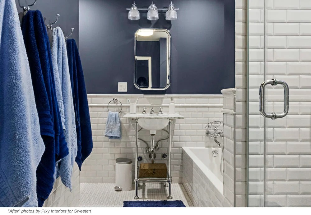 blue penny tile updates a bathroom to a blue beauty
