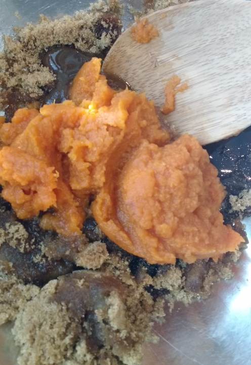 Adding in Pumpkin Puree