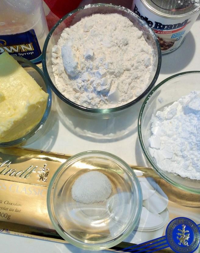 Butter, sugar, flour, corn syrup, salt and condensed milk