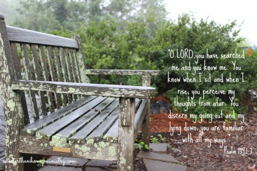 Psalm 139-1-3 weathered bench