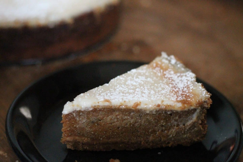 A slice of creamy cheesecake