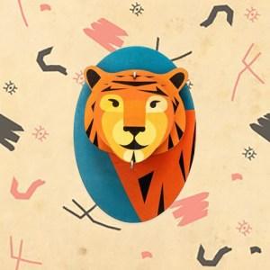 Tête de tigre décoration murale par studio ROOF.