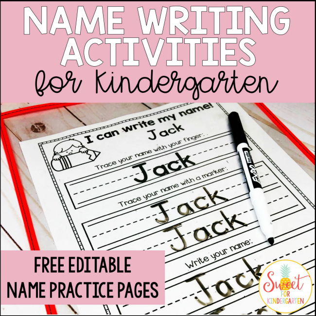 Name Writing Activities for Kindergarten | Sweet for ...