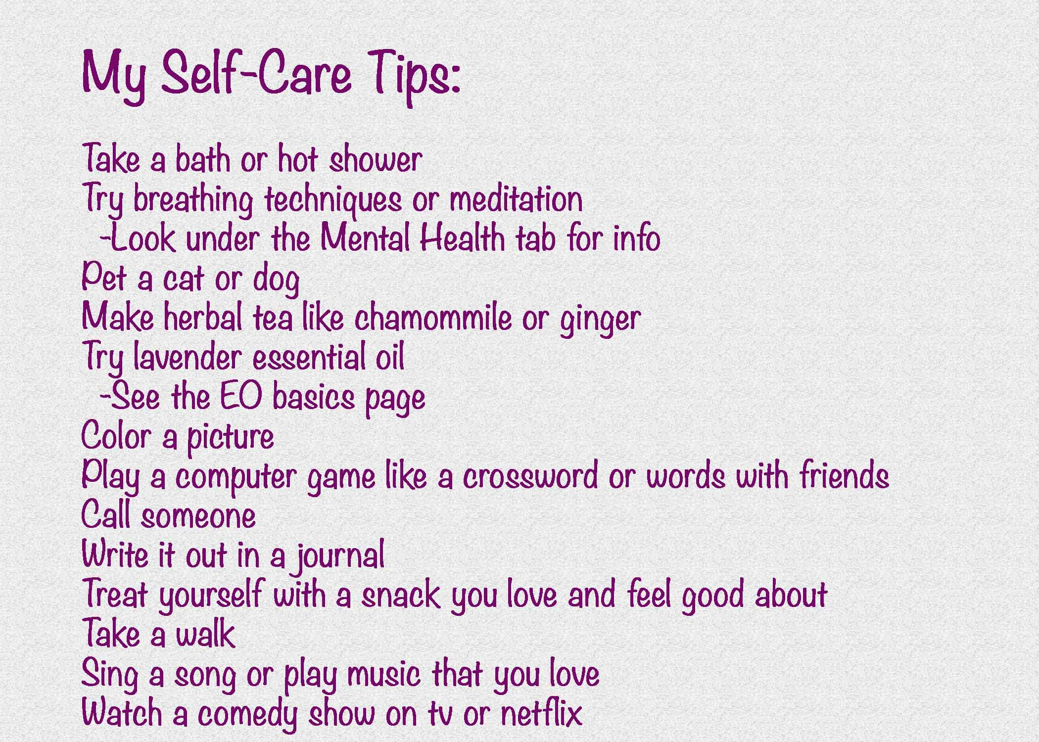 My Self Care Tips