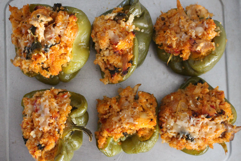 Stuffed Bell Peppers with Chicken and Cous Cous Stuffing