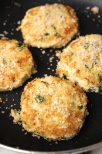 Frying Crab Cakes in Pan with Panko