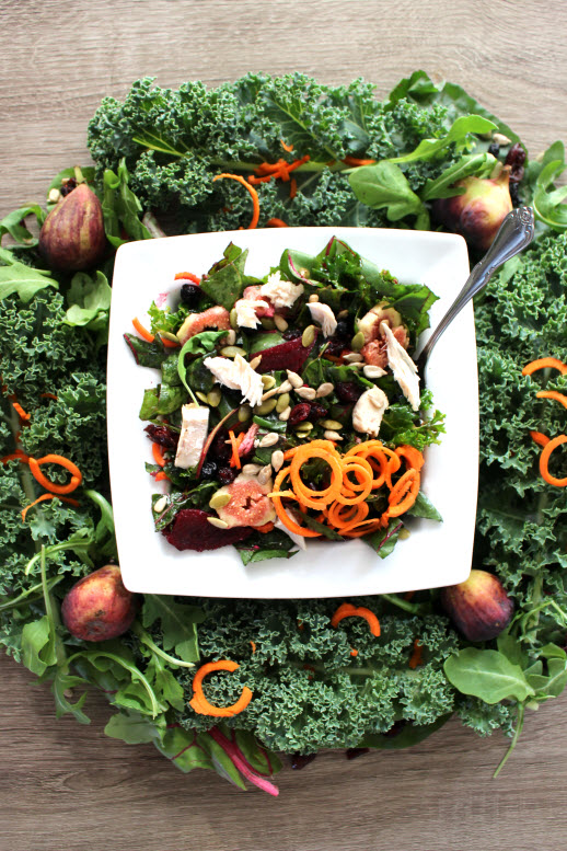 Harvest Kale Salad with Lemon Vinaigrette Dressing